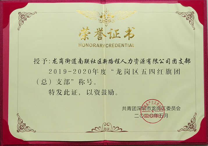"""新路程团支部被评为2019-2020年度""""龙岗区五四红旗团("""