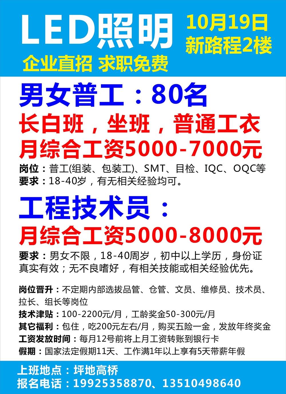 5000-7000 急招男女普工80名,长白班|高端LED照明厂